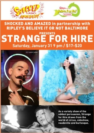 Poster for Strange For Hire, playing for one night only on Saturday, January 31. Photo by Isaac Bidwell, who is a featured artist for the Jan 31st show