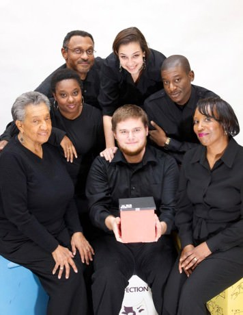 The cast of 'Boxes': Clockwise from bottom left: Cynthia Rollins, Lynette Franklin, William J Powell Jr, Lauren Schneider, Gregory Watkins, Gayle Carney, and Michael MacKay.