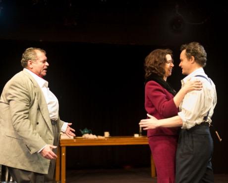 Michael Kharfen (Orson), Leta Hall (Vivien), and Kenneth Matis (Sean). Photo by Harvey Levine.