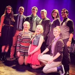 Harrison Smith (3rd from the left in the back row) with the cast of 'Unlimited'  at No Rules Theatre Company and The Catholic University' with Stephen Schwartz (center back-next to Harrison). Photo by Corey Sentz.