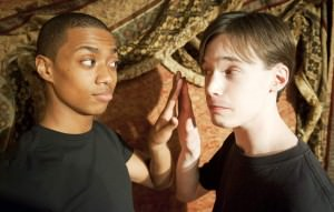 Dromio (Arrington Foster) comes face to face with his long lost twin also named Dromio (Kyle Kelley). Photo by Joshua McKerrow.