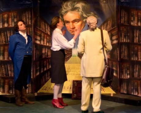L-R) Joseph Mariano (Ludwig Van Beethoven), Yvonne Paretzky (Dr. Katherine Brandt), and Malinda K. Smith (Dr. Gertrude Ladenburger). Photo by Harvey Levine.