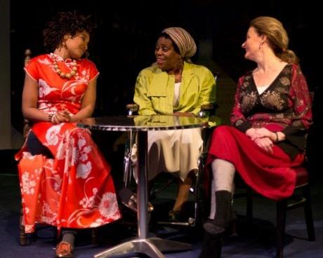(L-R) Karen Elle (Clara Brandt), Yvonne Paretzky (Dr. Katherine Brandt), and Malinda K. Smith (Dr. Gertrude Ladenburger). Photo by Harvey Levine.