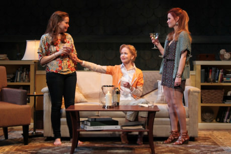 Michelle Six (Catherine Croll), Helen Hedman (Alice Croll), and Maggie Erwin (Avery Willard) in Round House Theatre's current production of Rapture, Blister, Burn. Photo by Danisha Crosby.