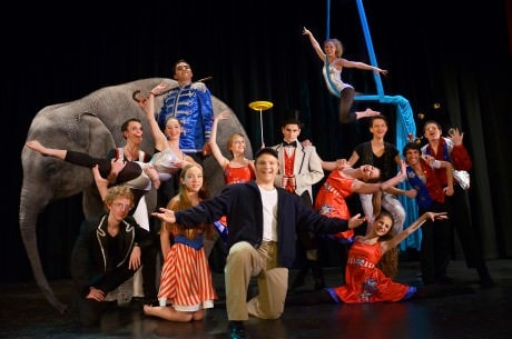 he world is a circus for Edward Bloom (Alex Stone and friends) in MTC's production of 'Big Fish.' Photo by Isabel Zapata.