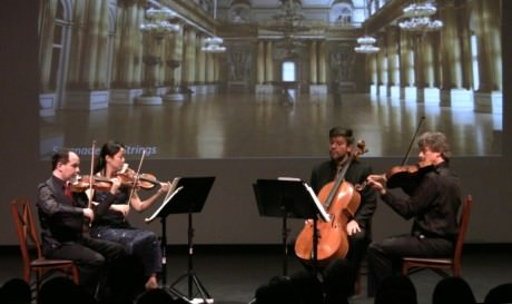 The National Chamber Ensemble: Leo Sushansky violin/artistic director, Najin Kim violin, Uri Wassertzug viola, and Sean Neidlinger cello. Photo courtesy of National Chamber Ensemble.