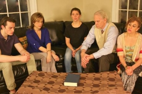 The cast of ''Other Desert Cities': (from left to right) Tim Torre, Sue Schaffel, Anna Jackson, Bob Chaves, and Melissa Robinson. Photo by Toly Yarup.