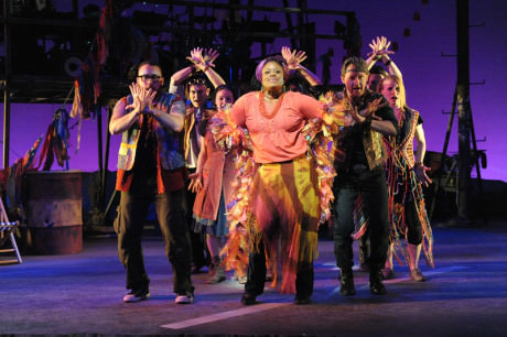 Nova Y. Payton and the cast of 'Godspell' at Olney Theatre Center. Photo by Stan Barouh.