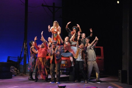 The cast of 'Godspell' at Olney Theatre Center. Photo by Stan Barouh.
