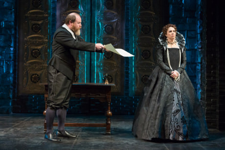 Todd Scofield (Sir William Davison) and Holly Twyford (Queen Elizabeth). Photo by Teresa Wood.