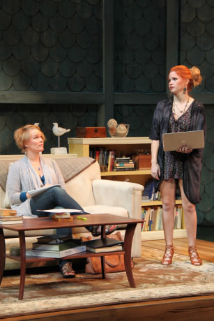 Beth Hylton (Gwen Harper) and Maggie Erwin (Avery Willard) in Round House Theatre's current production of Rapture, Blister, Burn. Photo by Danisha Crosby.