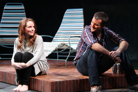 Michelle Six (Catherine Croll) and Tim Getman (Don Harper) in Round House Theatre's current production of Rapture, Blister, Burn.  Photo by Danisha Crosby.