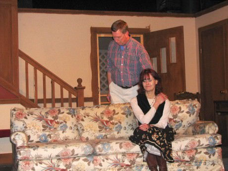 """Ted Culler (Russ/Dan) and Susan Harper (Bev/Kathy) star in """"Clybourne Park,"""" at the Greenbelt Arts Center. Photo by Bob Kleinberg."""