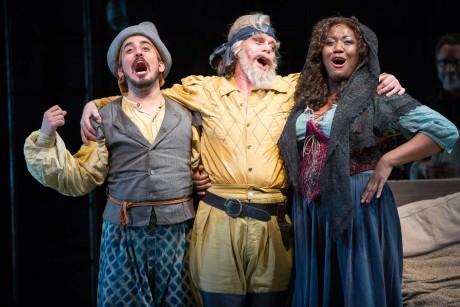Nehal Joshi (Sancho). Anthony Warlow (Don Quixote), and Amber Iman ( Aldonza). Photo by Scott Suchman.