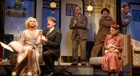Kristin Chenoweth, Peter Gallagher, Mark Linn-Baker, Michael McGrath, Mary Louise Wilson, and Andy Karl in 'On the Twentieth Century.' Photo by Joan Marcus.