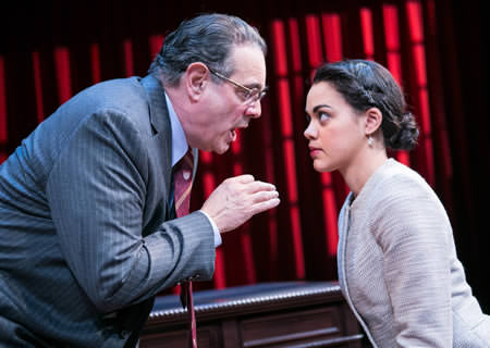 Edward Gero as Supreme Court Justice Antonin Scalia and Kerry Warren as Cat in The Originalist. Photo by C. Stanley Photography.