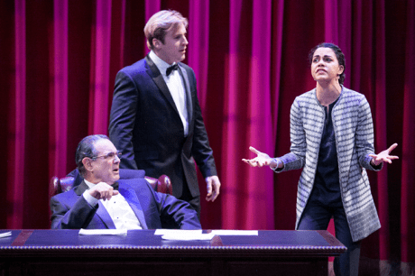 Edward Gero as Supreme Court Justice Antonin Scalia, Harlan Work as Brad and Kerry Warren as Cat in The Originalist. Photo by C. Stanley Photography.