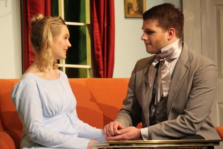Elizabeth Bennet (Jenni Patton) and Mr. Darcy (John Dabeck). Photo courtesy of Aldersgate Church Community Theater.
