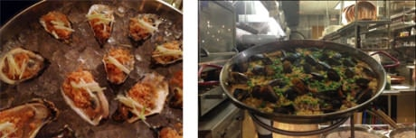 Oysters picadillo – Paella negra as seen from the kitchen counter bar.