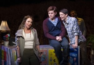 L to R: Sarah Litzsinger (Emily), Jake Winn (Luke), and Parker Drown (Ensemble) in Kid Victory at Signature Theatre. Photo by Margot Schulman.