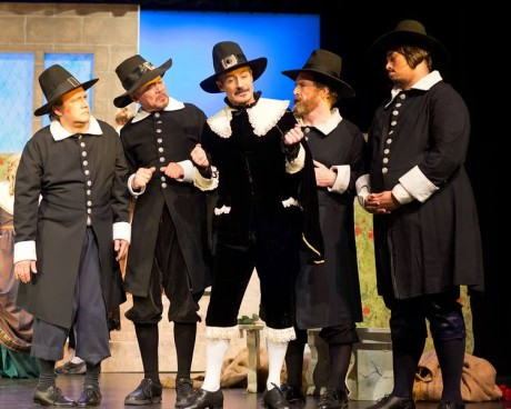 Gregort Stuart (Center) and his fellow Puritans. Photo by Harvey Levine.