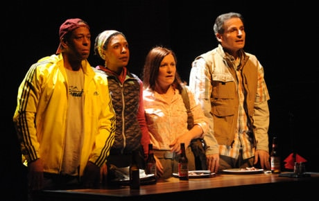 The Cast of Cherokee at Woolly Mammoth: (l-r) Thomas W. Jones II (Mike), Erica Chamblee (Traci), Jennifer Mendenhall (Janine), and Paul Morella (John). Photo: Stan Barouh).