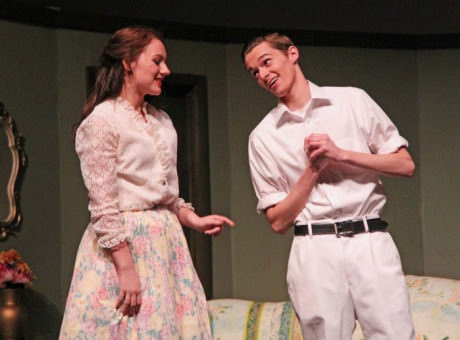 Rory Chagnon as Myrtle and Tyler Clark as Wilson. Photo by Larry Carbaugh.