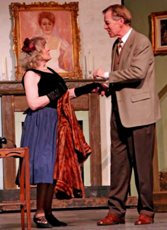 Lani Novak as Ms. Chevanette and Dick Reed as Elwood P. Dowd. Photo by Larry Carbaugh.