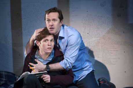 Jake Winn (Luke) and Jeffry Denman (Michael) in 'Kid Victory' at Signature Theatre. Photo by Margot Schulman.