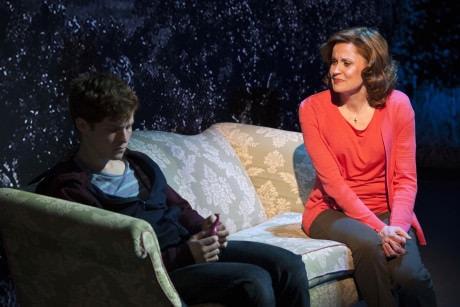 Jake Winn (Luke) and Christiane Noll (Eileen) in Kid Victory at Signature Theatre. Photo by Margot Schulman.