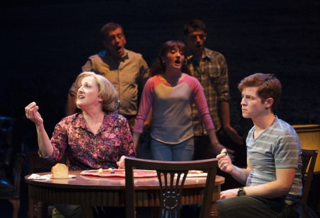 Donna Migliaccio (Gail), Bobby Smith (Ensemble), Laura Darrell (Ensemble), Parker Drown (Ensemble), and Jake Winn (Luke) in 'Kid Victory.' at Signature Theatre. Photo by Margot Schulman.