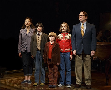 From left, Judy Kuhn, Oscar Williams, Zell Steele Morrow, Sydney Lucas, and Michael Cerveris. Photo by Joan Marcus.