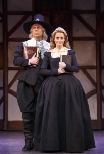 Brooks Ashmanskas (Brother Jeremiah) and  Kate Reinders (Portia). Photo by Joan Marcus.