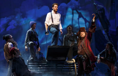 Matthew Morrison (center) and Kelsey Grammer (Captain Hook, front right) with the ensemble of 'Finding Neverland.' Photo by Carol Rosegg.