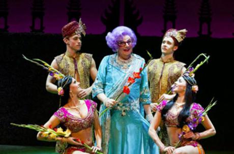 Dame Edna and Bollywood Dancers. Photo credit Craig Schwartz.