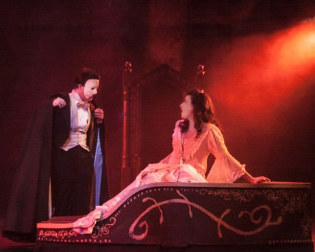 Phantom (Gabe Taylor) and Christine (Laura Sparks). Photo by Rosemary Malecki  and AACC.