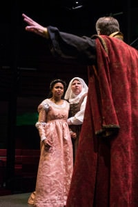 Lauren M. Davis is Juliet, Dave Gamble is Lord Capulet, Mimsi Janis is Nurse. Photo courtesy of Chesapeake Shakespeare Company.