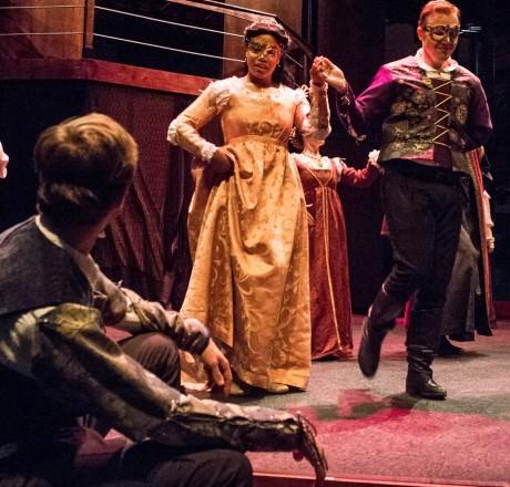 Lauren M. Davis is Juliet, Matthew Ancarrow is Paris; David Mavricos is Romeo (seated). Photo courtesy of Chesapeake Shakespeare Company.