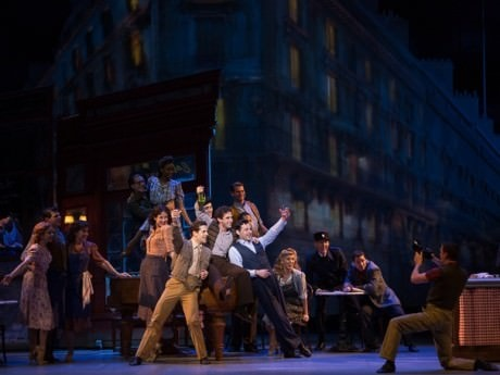 Robert Fairchild (Jerry Mulligan), Brandon Uranowitz (Adam Hochberg), and Max von Essen (Henri Baurel) with the cast of 'An American in Paris.' Photo by Angela Sterling.