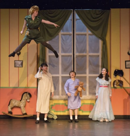 Peter Pan (Kelsey Meiklejohn) and the Darlings. Photo by Peter Hill.