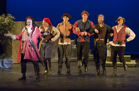 Captain Hook (Brian M. Lyons-Burke) and the Pirates. Photo by Peter Hill.