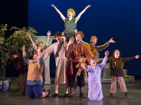Peter Pan (Kelsey Meiklejohn) and the Lost Boys. Photo by Peter Hill.