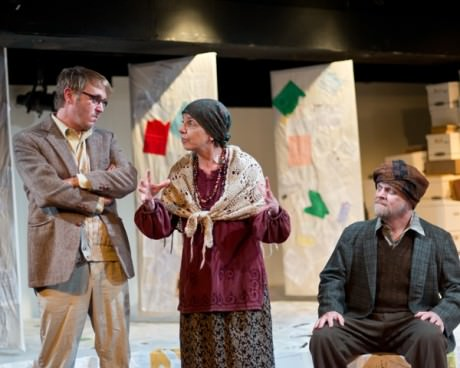 (L-R) Jonas David Grey(George), Lennie Magida (Alta), and Kevin Dykstra (Resten). Photo by Harvey Levine.