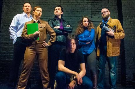 The cast of The Margins: From left: Brian E. McDermott (Markus), Jen Bevan (Phyllida), Elliott Kashner (Lane), Yoni Gray (Trace), Katie Jeffries (Helen), and Adam R. Adkins (Jonathan). Photo by Kristin Jackman.
