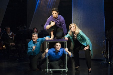 (clockwise from the left) Bobby Smith, Austin Colby, Donna Migliaccio and Paul Scanlan in Simply Sondheim at Signature Theatre. Photo by Margot Schulman.