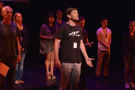 Garrett Schweighauserr flanked by  the cast of 'If All the Sky Were Paper.' Photo courtesy of The Kennedy Center.