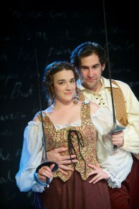 Amy Pastoor (Smeraldina) and Patrick Truhler (Truffaldino). Photo by Joshua McKerrow.