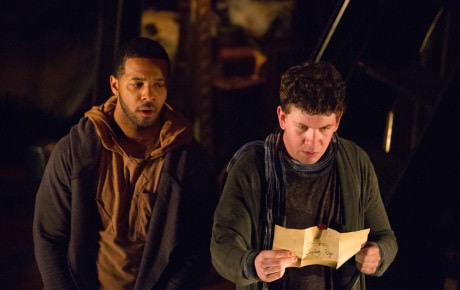 Adam Wesley Brown (Guildenstern), (Left), and Romell Witherspoon (Rosencrantz) (Right). Photo by Jeff Malet.