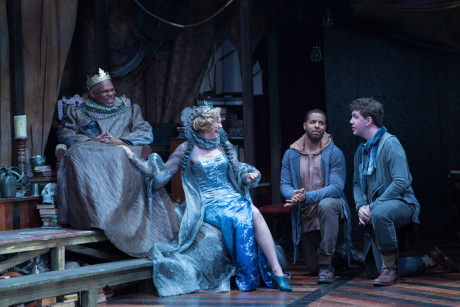 Claudius (Craig Wallace), Gertrude (Kimberly Schraf), Rosencrantz (Romell Witherspoon), and Guildenstern (Adam Wesley Brown. Photo by Teresa Wood.