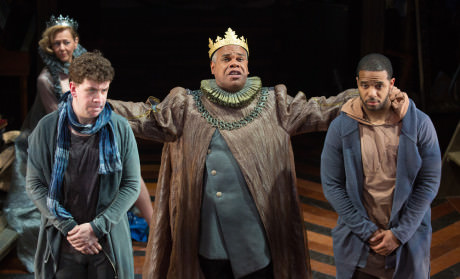 Claudius (Craig Wallace, center) directs Rosencrantz (Romell Witherspoon, right) and Guildenstern (Adam Wesley Brown) to glean what is afflicting Hamlet. Kimberly Schraf pictured in background. Photo by Jeff Malet.